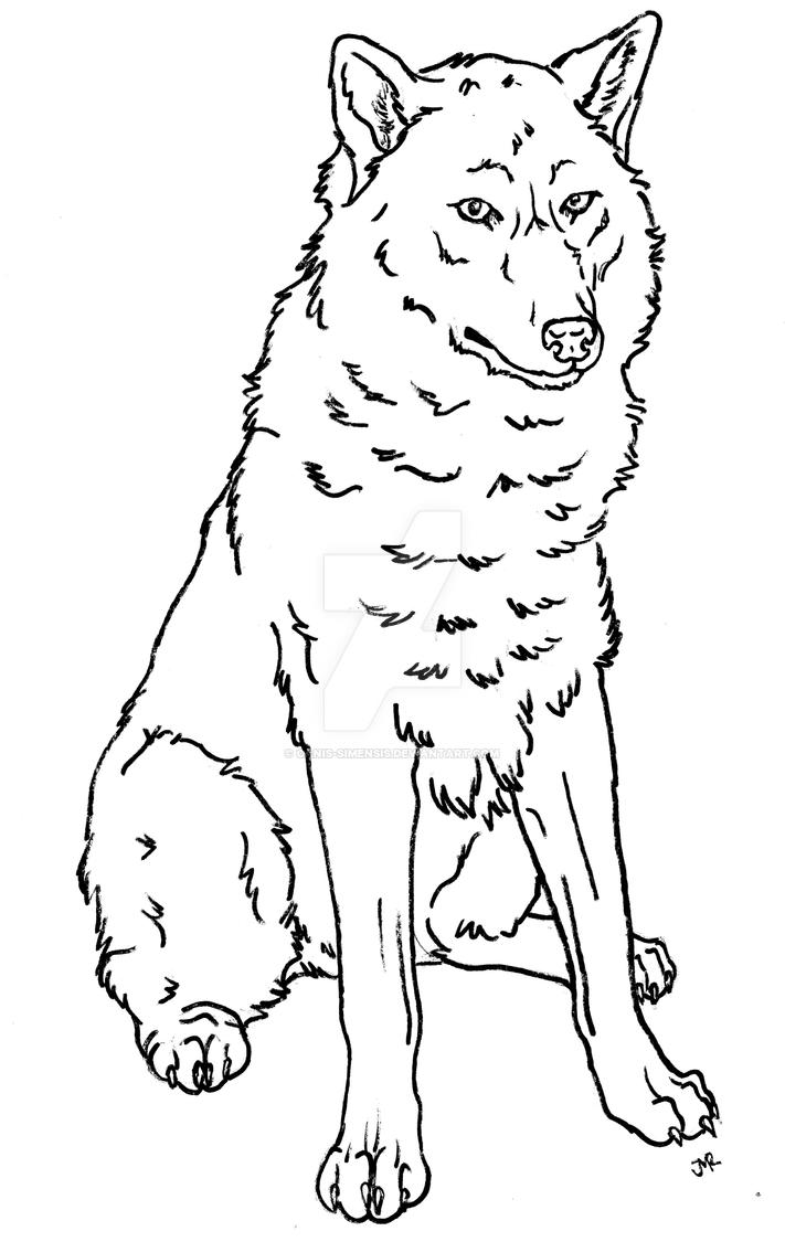 Wolf dog coloring page II by Canis-Simensis