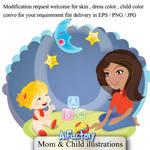 Mother with child custom illu