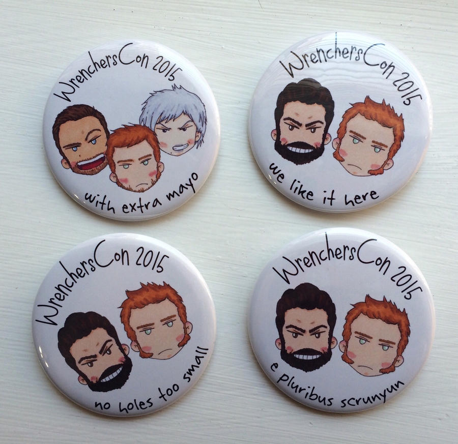 WrenchersCon group buttons by LadyDorian