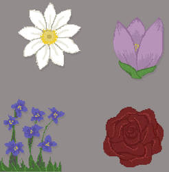 Floral1 Pixels by LyraBlackArt