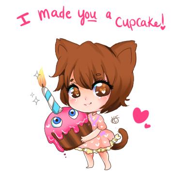 FNAF Valentine ! I made you a cupcake! by Hatty-hime