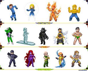 Fantastic Four sprites lineup by Hiroki8