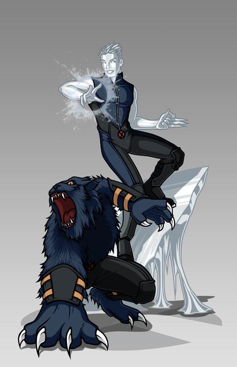 X-men Costume Redesign: Iceman and Beast by Hiroki8