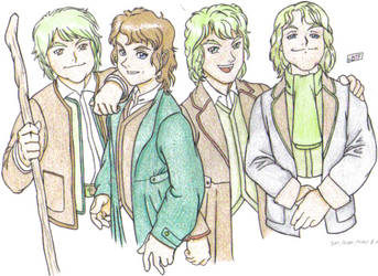 Four Hobbitses by miniboy