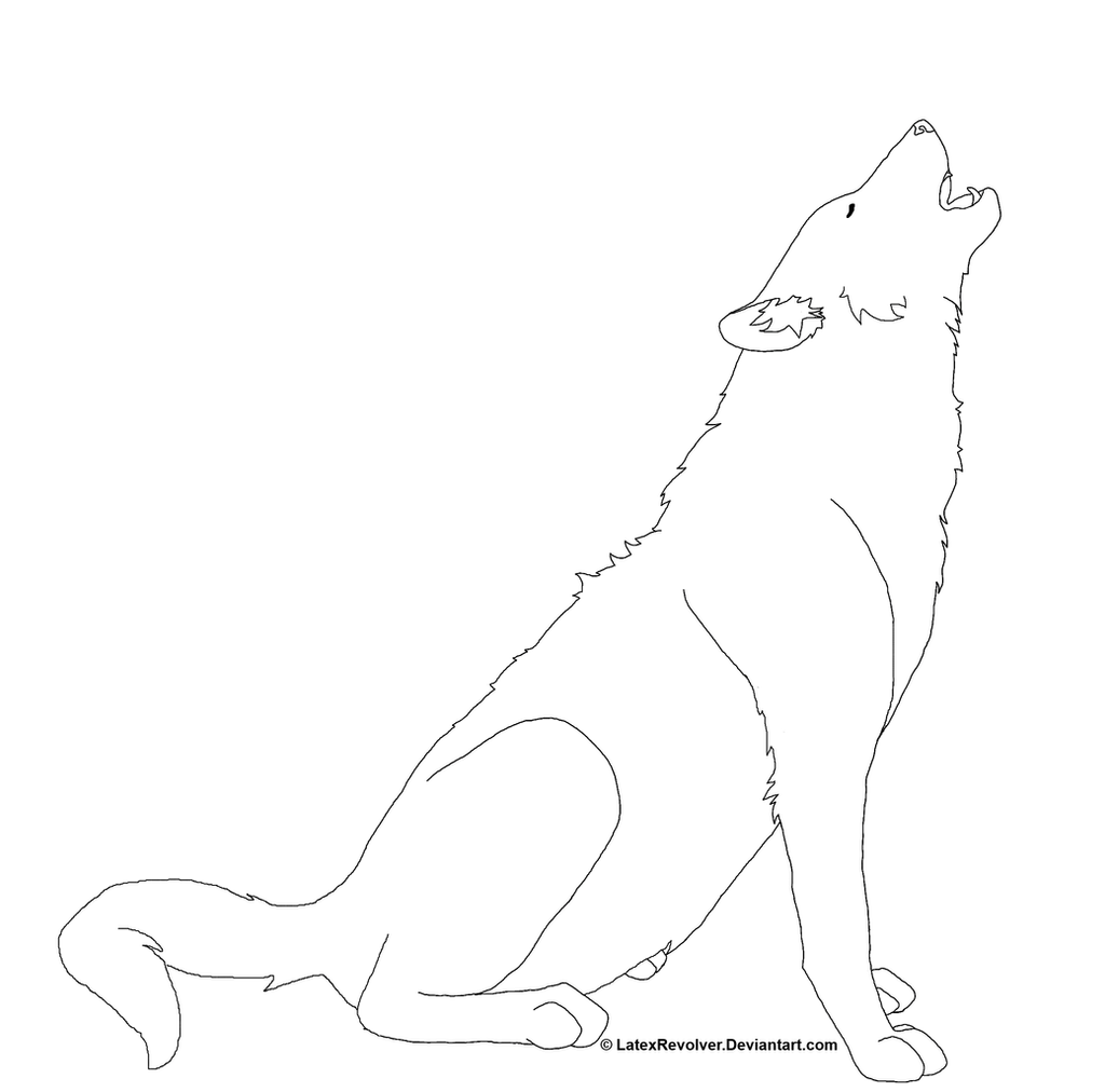 Line Drawing Backgrounds : Wolf white background lineart by latexrevolver on