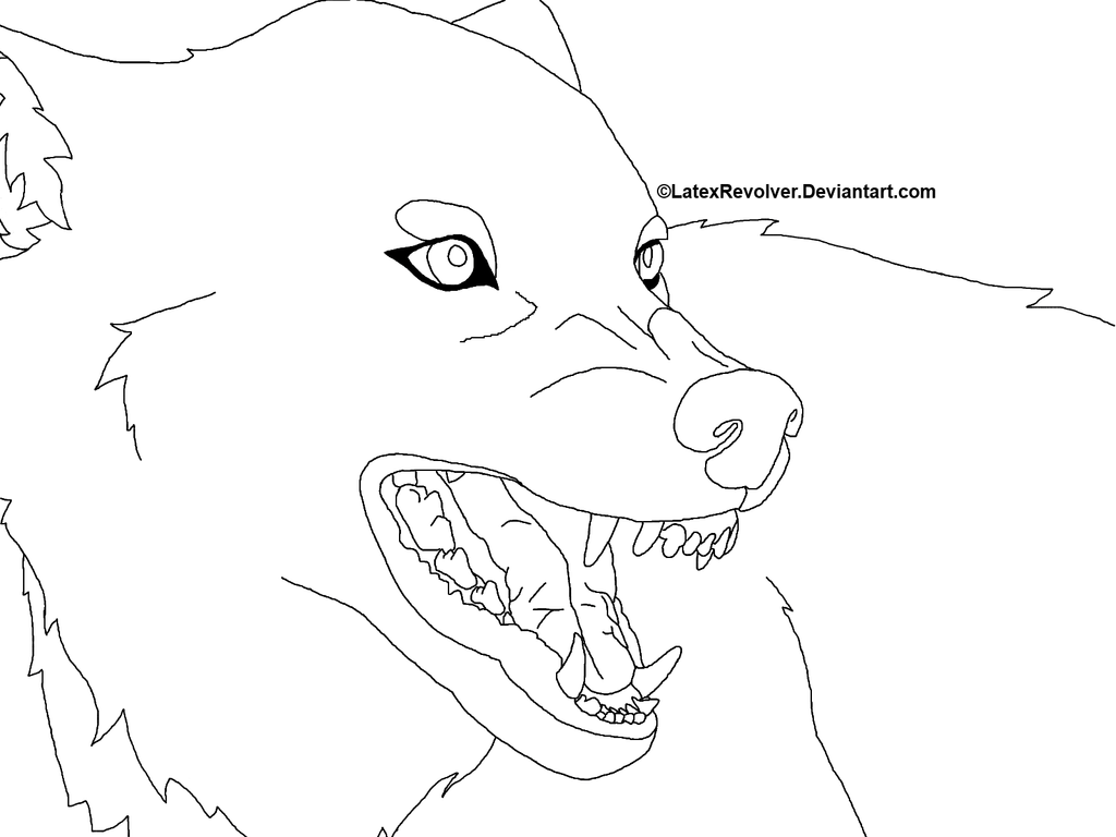 Lineart Wolf Tattoo : Wolf white background lineart by latexrevolver on