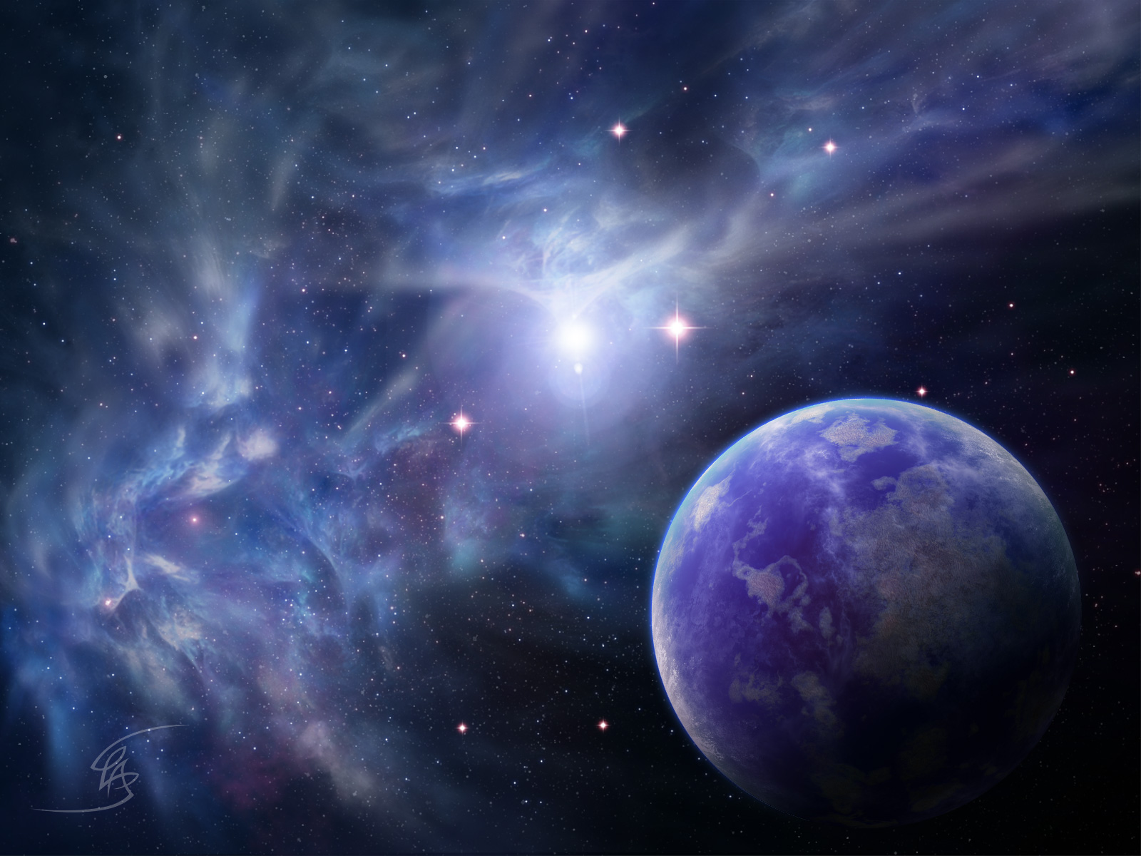 Fractal Nebula And A Blue Planet Wallpaper 1600x12 by ...