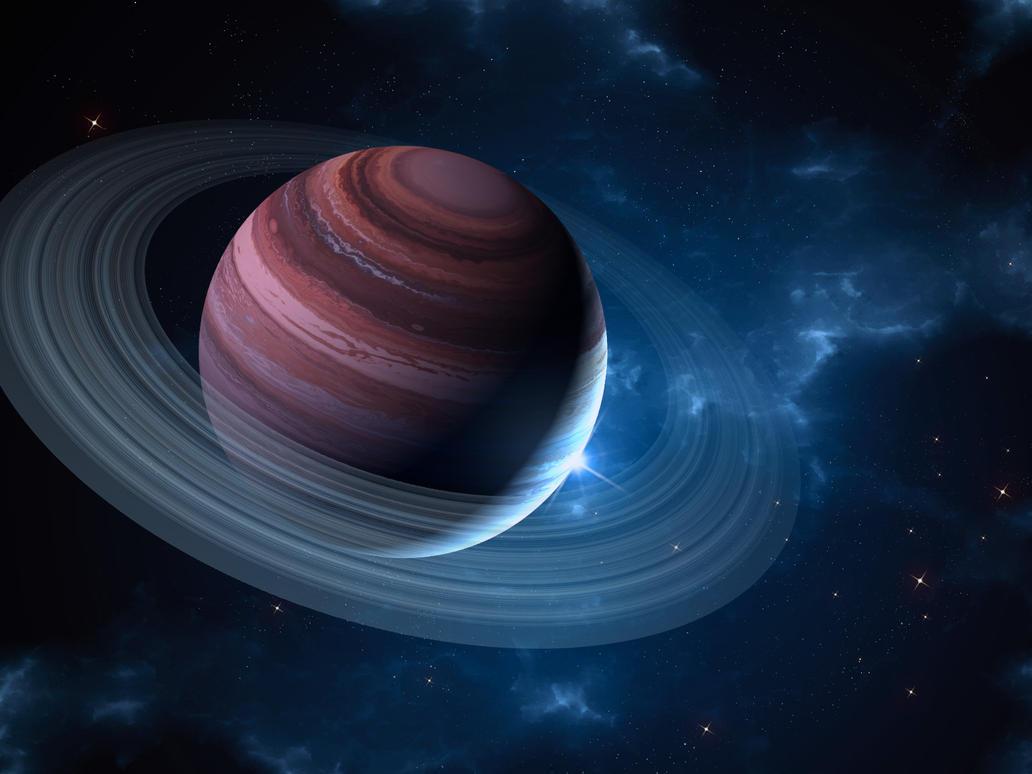 Ringed Planet Black Drawing
