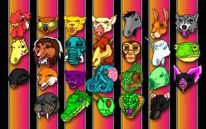 Hotline Miami Masks Wallpaper by Dan-The-Gir-Man