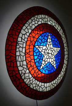 Side of Captain America's Shield in Stained Glass