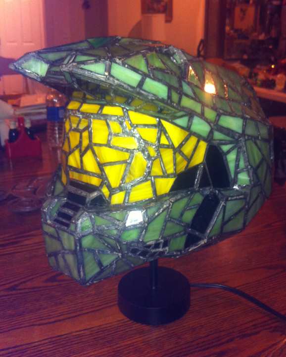 Unlight View of Halo Stained Glass Helmet Lamp by mclanesmemories