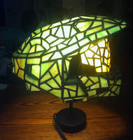Halo Stained Glass Helmet - Lit Side View by mclanesmemories