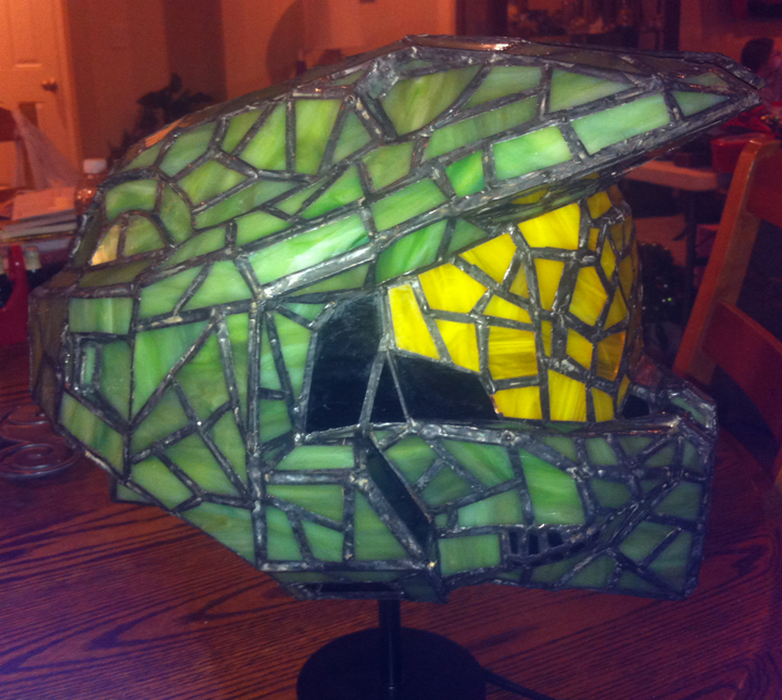 Halo Stained Glass Helmet - Unlit Side View by mclanesmemories