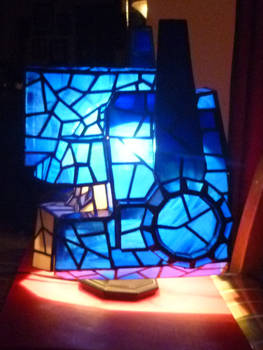 Optimus Prime Stained Glass Helmet Desk Lamp Side