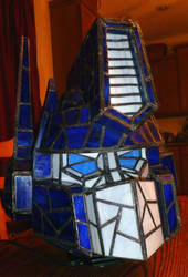 Optimus Prime Stained Glass Helmet Desk Lamp +