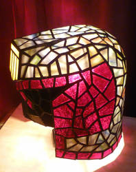 Judge Dredd Helmet Stained Glass Desk Lamp 2 by mclanesmemories
