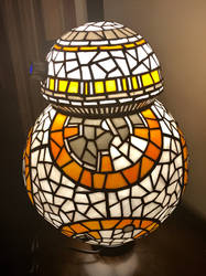 BB8 Stained Glass Lamp Side View