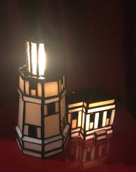 Split Rock Stained Glass Lighthouse by mclanesmemories