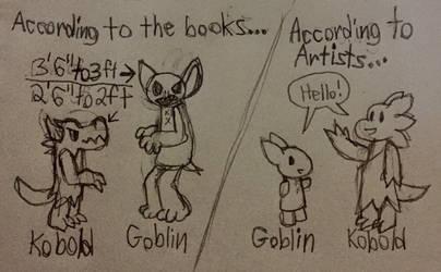 Kobold And Goblin Height Book Vs Art