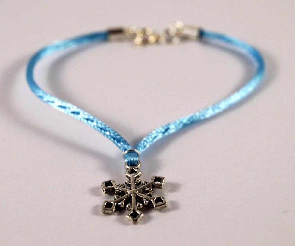 Snowflake Charm Bracelet: Light Blue Bracelet With Snowflake Charm By TosTosia On