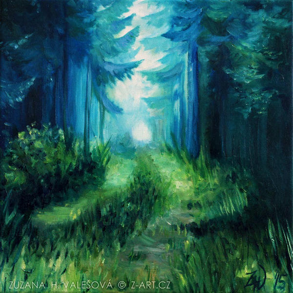 Misty Forest Canvas Painting