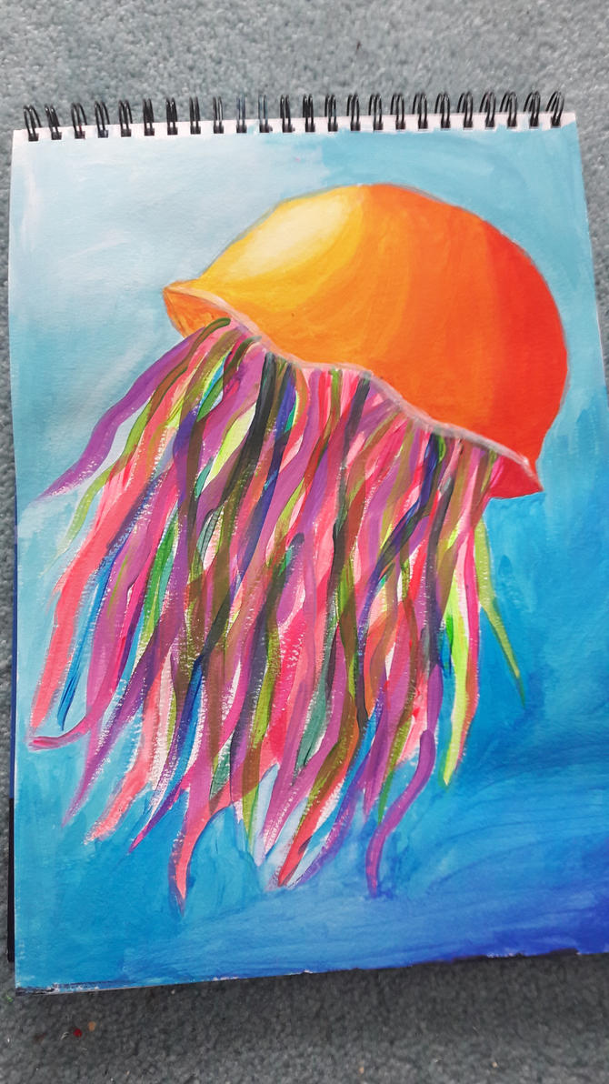 Orange jellyfish by TaitGallery