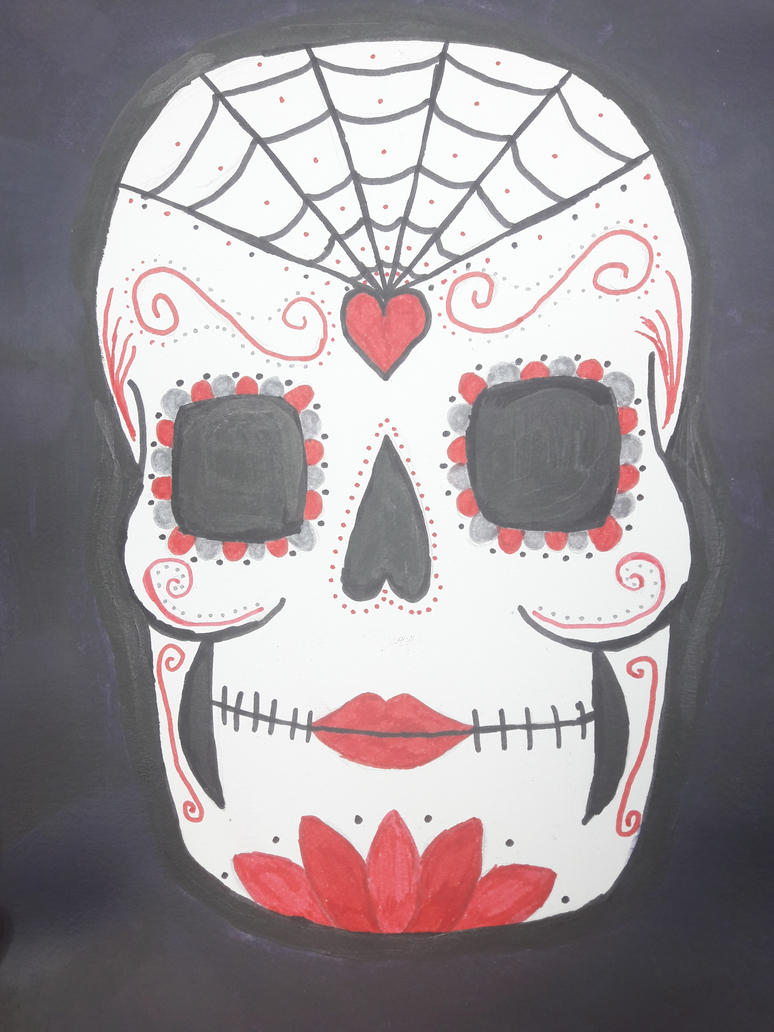red and black sugar skull by TaitGallery