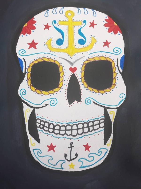 nautical sugar skull by TaitGallery