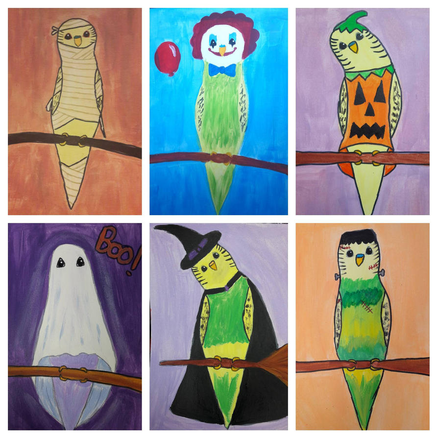 6 budgies of Halloween by TaitGallery