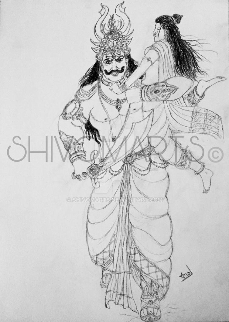 Rvana abducting Sita by shivomarts