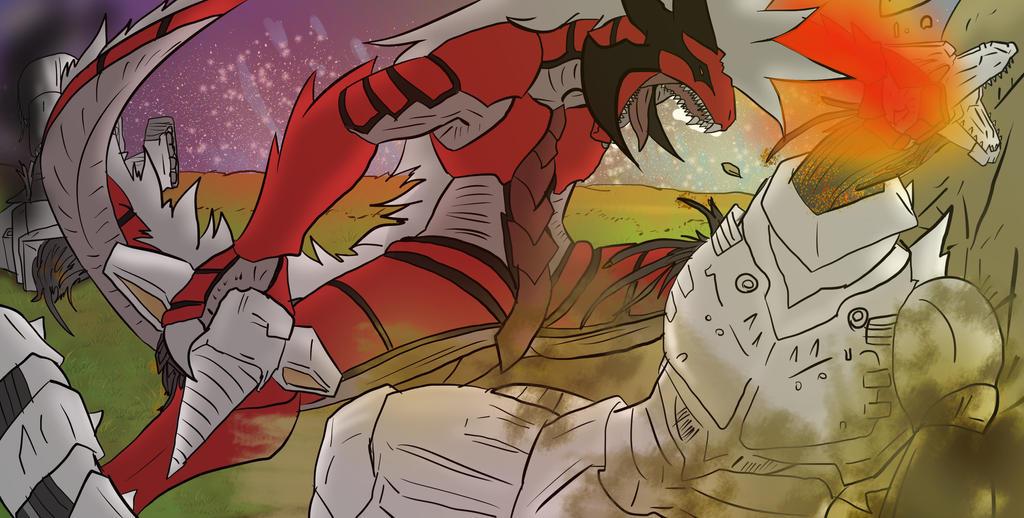 Kaiju Battle by XDeadDragonX98