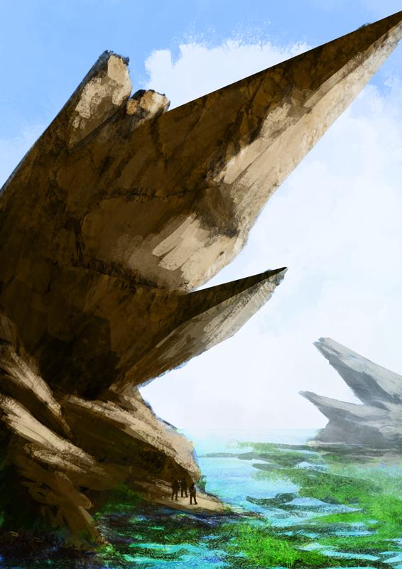 DSG 1624: Alien Enviro • BLOCKY, ANGULAR ISLANDS, LINED W/ FRACTURES, IN AN ALGAL SEA