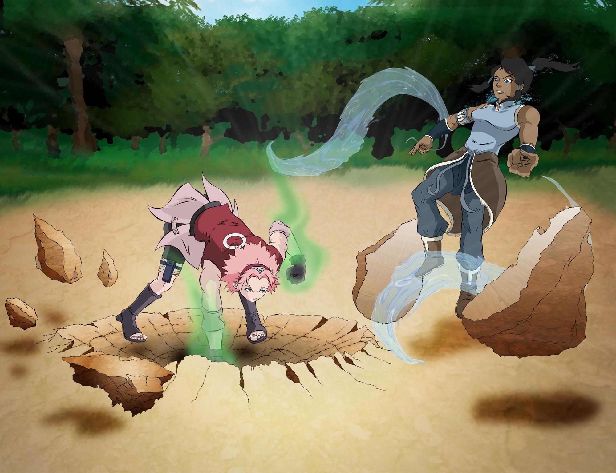 Korra VS. Sakura by Avostear on DeviantArt  Korra VS. Sakur...