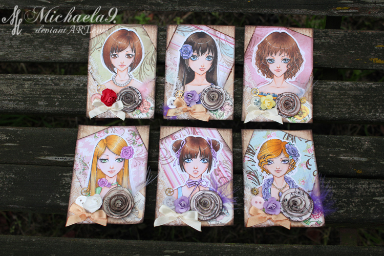 33. - 38. ACEO - Vintage portraits by Michaela9