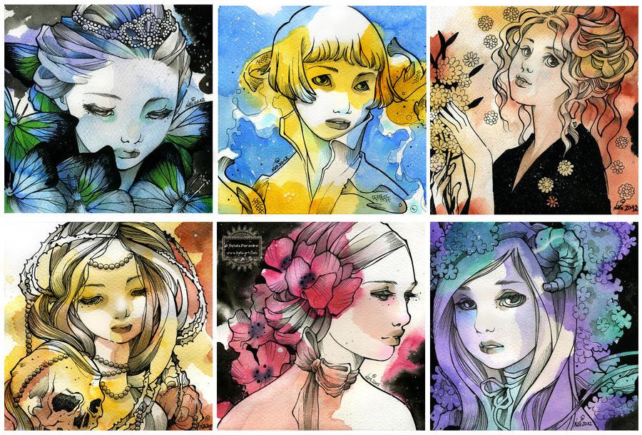 Six art-nouveau Ladies by nati