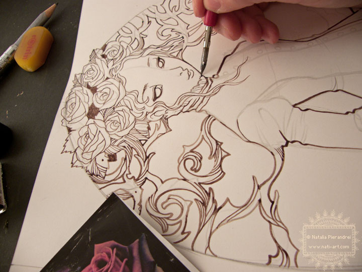 Traditional Flower Line Drawing : The maiden of rose flowers work in progress by nati on deviantart