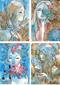 Four Small Watercolor Pieces