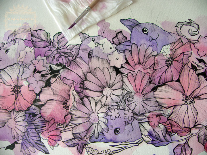 Wild Flowers and Cats - work in progress by nati