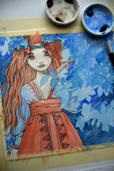 Watercolor painting in progress