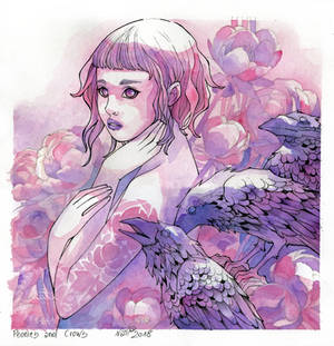 Peonies and Crows