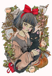 A young witch and her cat