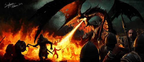 Dragon battle by SigbjornPedersen