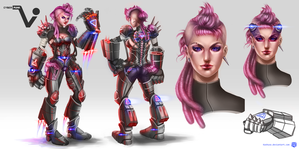 League of Legends_VI_Cyberpunk_Conceptart by Kashuse