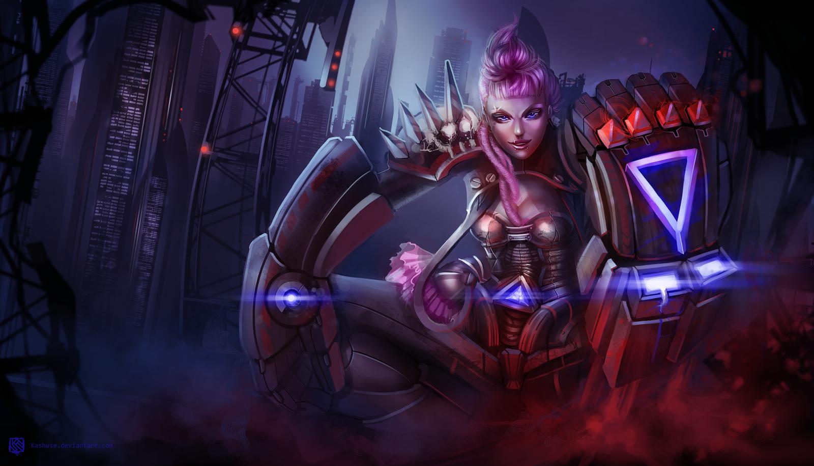 League of Legends_VI_Cyberpunk_Splash by Kashuse on DeviantArt