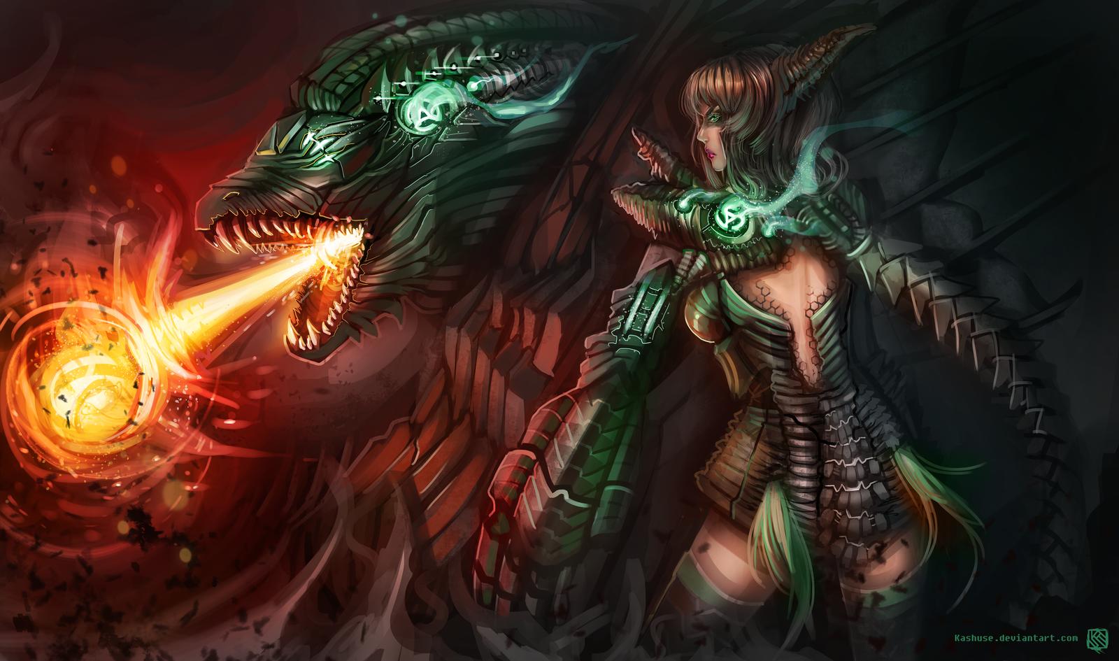 League of Legends_Shyvana_Headhunter_Splash by Kashuse