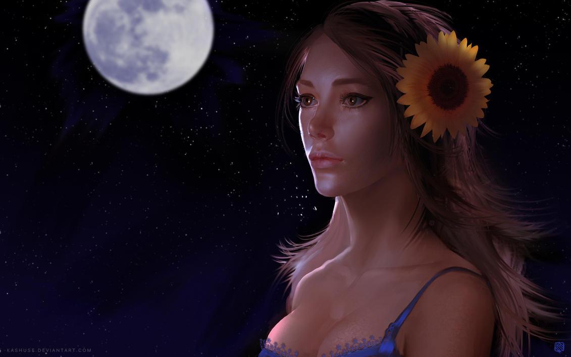 Leona Under The Moon Light by Kashuse