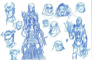 Alien Race designs for Mary by RevolverComics