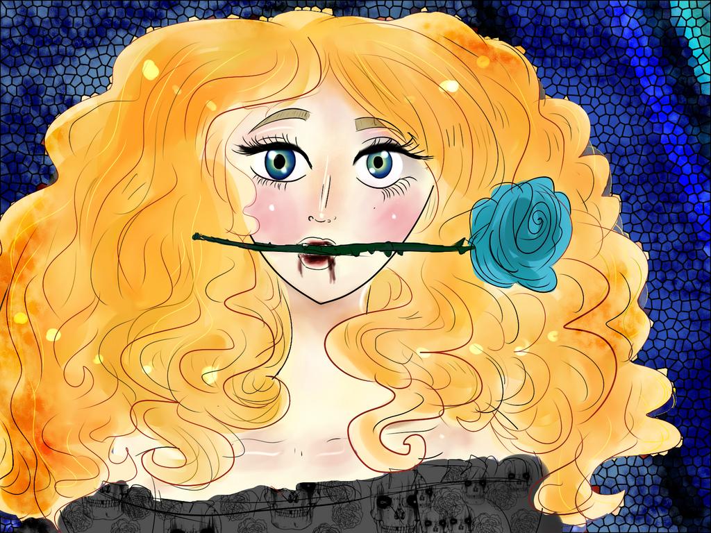 Blue bleeding rose by Tonxbunny94