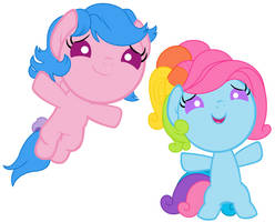 Firefly and G3 Rainbow Dash as Babies