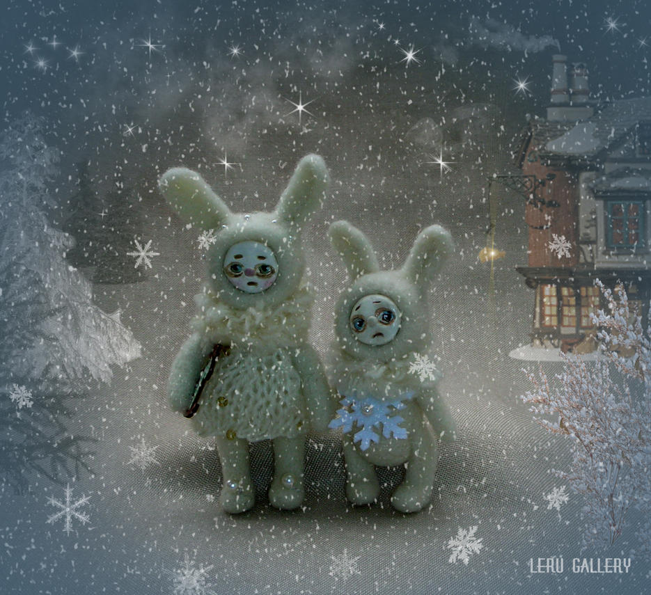 Little bunnies. Art doll. Miniature by LeRuGallery